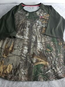 Under Armour Real Tree Heat Gear Womens Sx Lg Outdoor Hunting camo fitted tshirt