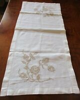 """Vintage ivory linen w/ tan embroidered flowers table runner/dresser scarf -32.5"""""""