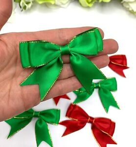 Christmas bows red green double satin pre-tied ready made stick on bow gold edge