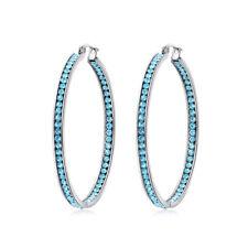 "Blue Crystal Stainless Steel Women Jewelry Silver Hoop Earrings 2 1/8"" FH7578"