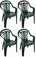 4 x Plastic Low Back Garden Chair Light Weight Home Camping Picnic Fishing Green