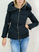 Lovely Zara Jacket Coat Duck Down Warm Winter Fitted XS Uk 8 Black Large Collar