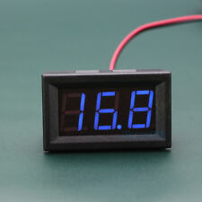 Small DC 5V-120V Voltmeter Blue LED Panel 3-Digital Display Voltage Meter 2-wire
