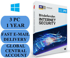 Bitdefender Internet Security 3 PC 1 YEAR + FEE VPN ACCOUNT SUBSCRIPTION 2019