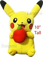 "10"" Pokemon Pikachu Holding Apple Cute Pocket Monster Plush Toy Stuffed Doll"