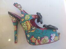 New Iron Fist Over The Rainbow Platform Bow Heel Turquoise Eu41 Us10 UK8