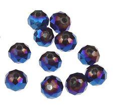 15 GLASPERLEN RONDELL 10mm TSCHECHISCHE KRISTALL PERLEN Blau Irisierend X249
