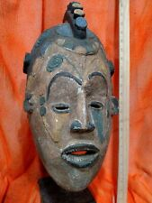Igbo Maiden Spirit Helmet Mask with Colorants —Authentic Carved Wood African Art