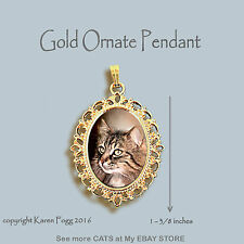 Norwegian Forest Cat - Ornate Gold Pendant Necklace