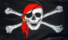 PIRATE WITH BANDANA 3 X 2 feet FLAG Skull and crossbones JOLLY ROGER pirates