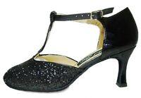 MONDIAL SHOES 01 scarpe da ballo donna tacco 70/R nere basse lucide brillantini