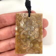 Natural Indonesian Petrified Fossil Coral Jade Rectangle Pendant Necklace