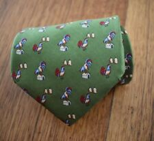 Brooks Brothers 100% Silk Tie | Green necktie with Roosters (Made in USA)