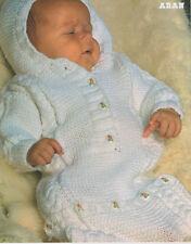 "BABY SACCO A PELO CAPPUCCIO Cavo ARAN 16 "" - 20"" knitting pattern"