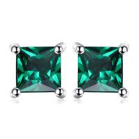 4mm Christmas Green Nano Russian Emerald Solid Sterling Silver Stud Earrings
