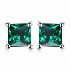 4mm Bright Green Nano Russian Emerald Solid Sterling Silver Stud Earrings