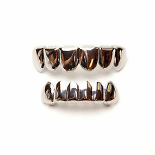 New Solid Grillz Silver Plated Top & Bottom Plain Set Mouth Cap Teeth LS 001 S