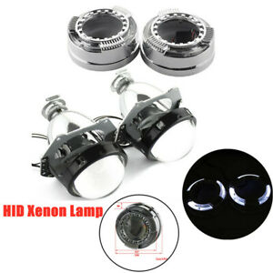 12V General LED Angel Eyes Lens Headlight  w/Cover Lampshade Protect 3-inch Lens