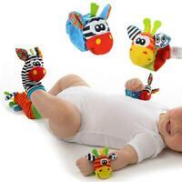 Bundle Activity Cute Socks & Wrist Rattles Safe Soft Baby Infant Toy K5J3