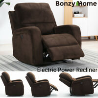 Oversize Power Recliner Chair Suede Thickened Padded Sofa W/ USB Port Dark Brown