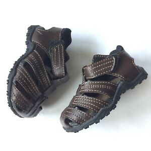 Teeny Toes Boys Fishermen Sandals Brown Straps 3W Wide Infant Shoes