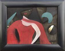 MODERN ART - COLLAGE GOLD MALEREI AUF LDER - FRAU MIT ROTEM KLEID - LIZ KELLY