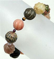 Stretch-to-fit carved gem stone beaded bracelet -14mm BRL990003