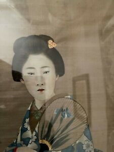 Antique pair (two) of Japanese silk paintings of lady in costume in frame