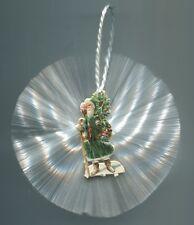 Alter Weihnachtsschmuck Christbaumschmuck Glasfaser Oblate Weihnachtsmann+Uhr