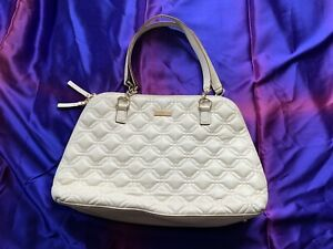Kate Spade Cream Colored Quilted Handbag Double Zippers And Polka Dot Lining