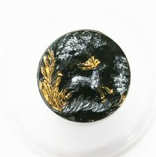 Antique Victorian Black Glass Button w/ White & Gold Running Deer in Forest