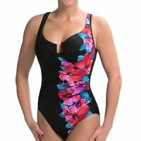 NWT New MIRACLESUIT Escape Underwire One Piece Swimsuit Black & Floral Swipe 10