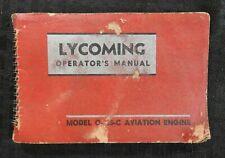 GENUINE 1947 LYCOMING O-235-C AIRCRAFT ENGINE OPERATORS MANUAL GOOD SHAPE PIPER