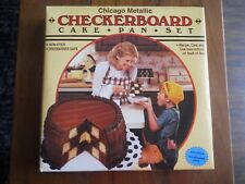 Chicago Metallic Checkerboard Cake Pan Set with 3 Pans, Divider, Recipes NWT