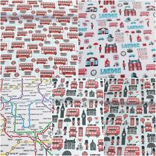 WT London Scene Times England UK Big Ben PolyCotton Fabric Reduced Prices NEW