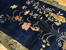 Antique hand Knotted 1920s art deco Chinese rug, size 5'x10' Beautiful blue