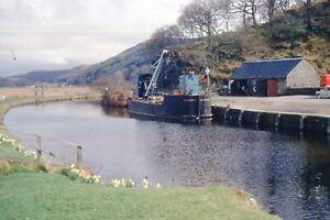 "35mm SLIDE  : MARITIME : ""BRITISH WATERWAYS"" CLYDEFORTH DREDGER ON CANAL 1960's."