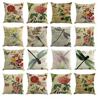 Cotton Linen Pillow Case Sofa Waist Throw Flower Cushion Solid Cover Home Decor