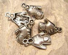 Antiqued Silver ptd Dress with Heart Charms, 19x14mm, 5 Qty