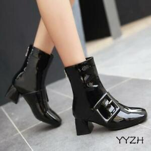 Fashion Autumn Buckle Womens Patent Leather Mid Heel Pointy Toe Ankle Boots Shoe
