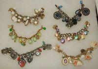 Estate Lot of 6 Fantastic Vintage Chunky Charm Costume Jewelry Bracelets