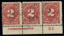 US #J30 2¢ vermillion, Plate No. Imprint Strip of 3, used, F/VF, Miller cert