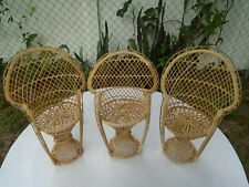 Lot of 3 Large Wicker Rattan Peacock Chairs Plants Dolls Bears Crafts 16 15 16