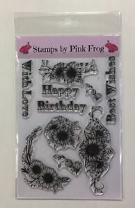 Pink Frog Crafts Stamp Set A5 ~ Sunflower Wishes ~ 12 Stamps ~ Happy birthday