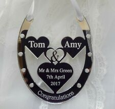MR & MRS GREEN BRIDE AND GROOM WEDDING HORSE SHOE GIFT , PERSONALISED ANY NAME