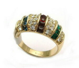 Red Green Blue Cubic Zirconia Crystal Ruby Sapphire Gold Plated Ring Size: 7.8.9