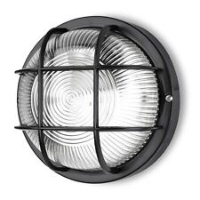 ROUND Black BULKHEAD WALL LIGHT FITTING INSIDE OUTSIDE INCLUES 60w BULB IP RATED