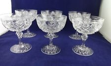 AMERICAN BRILLIANT CUT GLASS--Set (6) Matching Champagne / Sherbets