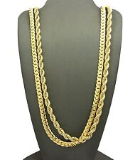 "NEW 6mm/30"" ROPE CHAIN & 6mm/30 MIAMI CUBAN CHAIN / NECKLACE CHAIN SET - RC1748"