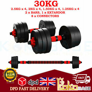 30kg Adjustable Dumbbell Barbell Weight Lifting Set Pair Home Gym Dumbell